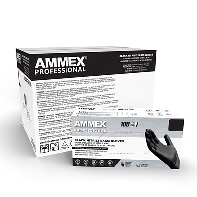 Ammex Professional Series Powder Free Nitrile Exam Gloves, Latex Free, L, 100 Gloves/Box (ABNPF46100)