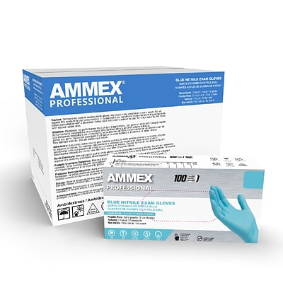 Ammex Professional Series Powder Free Nitrile Exam Gloves, Latex Free, Large, 100 Gloves/Box (APFN46100)