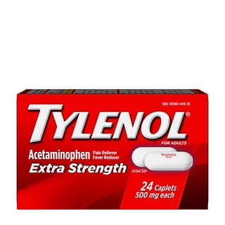 Tylenol Extra Strength Caplets, Fever Reducer and Pain Reliever, 500 mg, 24 Counts (931219)