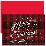 JAM Paper® Christmas Card Set, Plaid Merry Christmas Holiday Cards, 18/pack (526880600)