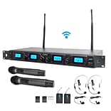Pyle Pro PDWM4350U UHF Wireless Microphone System Kit Adjustable Frequency With Microphones and Tran