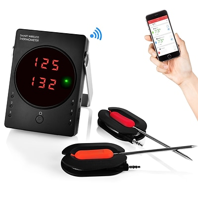 NutriChef Bluetooth Wireless BBQ Digital Thermometer System, Black/Red ( PWIRBBQ50)