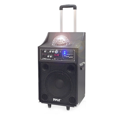 Pyle PSUFM1049A 600-Watt Disco Jam Powered Two-Way Bluetooth PA Speaker System, Black