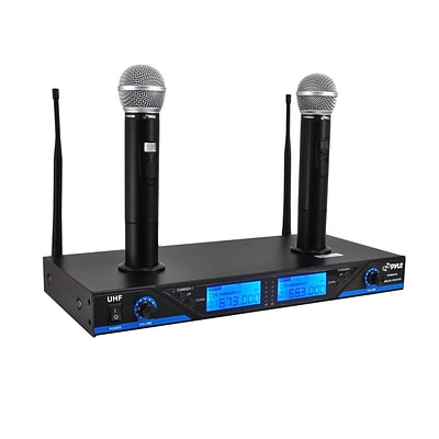 Pyle Pro PDWM2560 Premier Series UHF Wireless Microphone System With 2 Handheld Mics