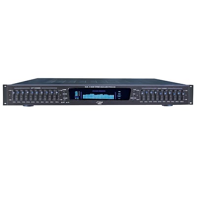 Pyle 19 Rack Mount Dual 10 Band 4 Source Input Stereo Spectrum Graphic Equalizer (PPEQ100)