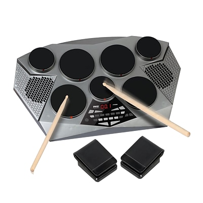 Pyle Pro PTED06 Electronic Tabletop Digital Drumming Kit Grey/Black