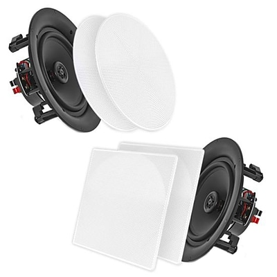 Pyle Home PDIC86 8.0 In-Wall / In-Ceiling Dual 2-Way Stereo Speakers White