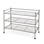 Seville Classics 3-Tier Iron Mesh Utility Shoe Rack, Satin Pewter (SHE99905)