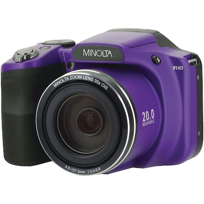 Minolta 20.0 Megapixel 1080p Full Hd Wi Fi Mn35z Bridge Camera With 35x Zoom, Purple (mn35z P)