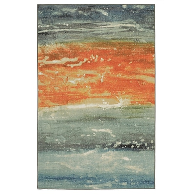 Mohawk Nylon Aurora Abstract Seascape Blue Area Rug (797786017826)