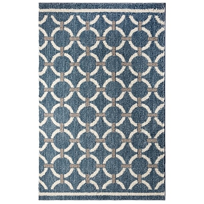 Mohawk Polyester Laguna Linked Circles Blue Area Rug (797786014498)