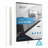 Adir Office Wall Mount Sign Holder Portrait-Style Ad Frame Side Insert Clear Acrylic 8.5W x 11L, 1
