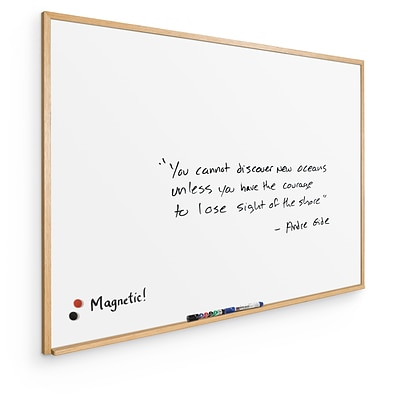Best-Rite Porcelain Steel Wood Trim Oak 2 x 3 Porcelain Steel Dry Erase Whiteboard (202WB-25)