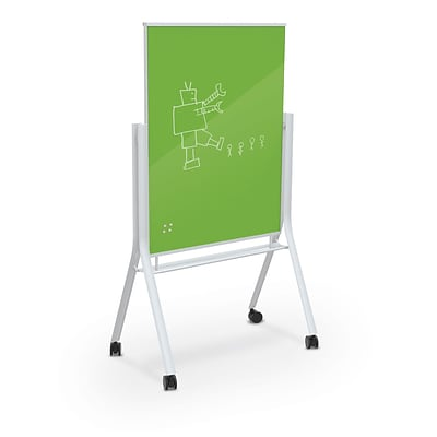 Best-Rite Visionary Curve Colored Glass Whiteboard Easel White Frame Green Glass 47.24H x 35.43H Surface (74957-Green)
