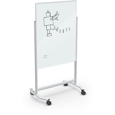 Best-Rite Visionary Move Colors Double Sided Whiteboard Easel White Frame White Glass 47.24H x 35.43H Surface (74965-White)