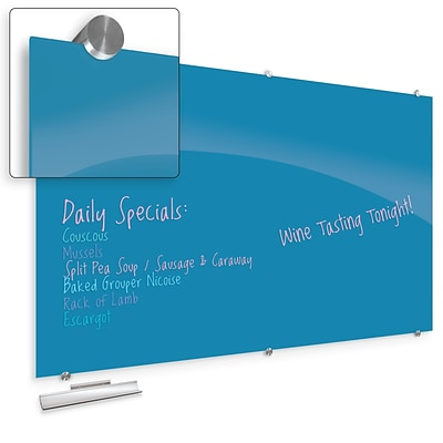 Best-Rite Visionary Colors Magnetic Glass Dry Erase Whiteboard 47.24 x 94.49 Blue (83846-Blue)