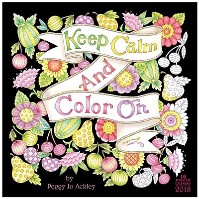 2018 Sellers Publishing, Inc. 12 x 12 Keep Calm & Color On - By Peggy Jo Ackley Wall Calendar (CA0140)