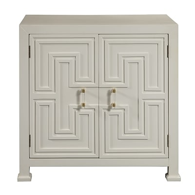 Right2Home White Geometric Overlay Door Chest 32L x 18W x 33H (DS-D047004)