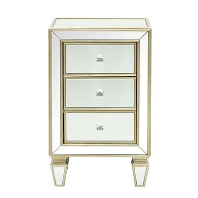 Right2Home Glam Mirrored Accent Drawer Chest 18.13L x 13.13W x 29.25H (DS-D018006)