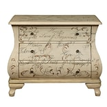 Right2Home White Hand Painted Words Bombay Chest 32.6L x 15.91W x 27.91H (DS-P017037)