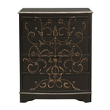 Right2Home Black Hand Painted Curved Front Drawer Chest 26L x 17W x 31.25H (DS-D018003)