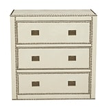 Right2Home Chester Ivory Faux Leather Wrapped Trunk Style Drawer Chest 32L x 18W x 33H (DS-D04700