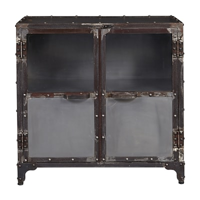 Right2Home Distressed Metal & Glass Riveted Door Chest 31L x 16W x 31H (DS-D051002)
