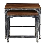 Right2Home Distressed Wood & Metal Nesting Tables - Set of 2  Accent Table Brown (DS-D051014)