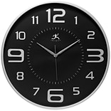 Infinity Instruments 18 Round Wall Clock, Silver Finish  (15102SV-4074)