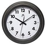Infinity Instruments 11.5 Round Wall Clock, Antique Black Finish  (15354RS-4246)