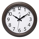 Infinity Instruments 12 Round Wall Clock, Antique Brown Finish Case  (15355WL-4255)