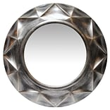 Infinity Instruments 20 Round Wall Mirror, Antique Silver Finish (15366AS)