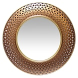 Infinity Instruments 15.75 Round Wall Mirror, Gold/Copper Finish (15367GD)