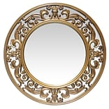 Infinity Instruments 23.5 Round Wall Mirror, Brushed Gold Finish  (15368GD)