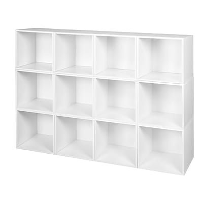 Niche Cubo Storage Set of 12 Cubes in White Wood Grain (PC12PKWH)