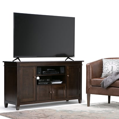 Simpli Home Carlton 54W TV Stand in Tobacco Brown (3AXCCRL-08)