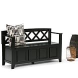 Simpli Home Amherst Entryway Bench in Black (AXCAB-BNCH-B)