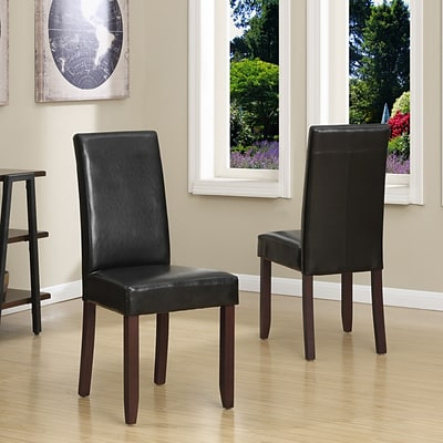 Simpli Home Acadian Faux Leather Parson Dining Chair in Midnight Black (WS5113-4-BL), 2/Set