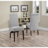 Simpli Home Avalon Linen Look Parson Dining Chair in Dove Grey (WS5134-DGL), 2/Set