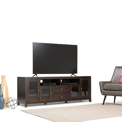 "Simpli Home Cosmopolitan 72"" Wide Tv Stand In Coffee Brown (3axccos72)"