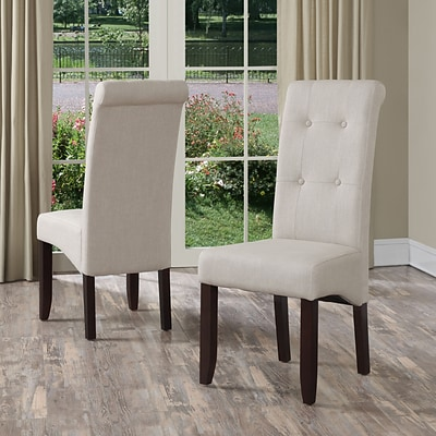 Simpli Home Cosmopolitan Linen Look Parson Dining Chair in Natural (WS5109-4-NL), 2/Set