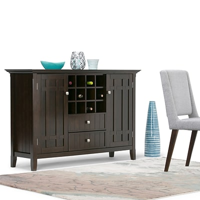 Simpli Home Bedford 54W x 17D x 36H Sideboard Buffet & Winerack in Tobacco Brown (3AXCBED-04)