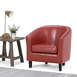 Simpli Home Austin Faux Leather Tub Chair in Red (AXCTUB-003)