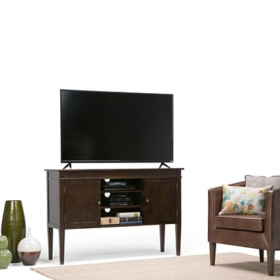 Simpli Home Carlton 54W TV Stand in Tobacco Brown (3AXCCRL-04)