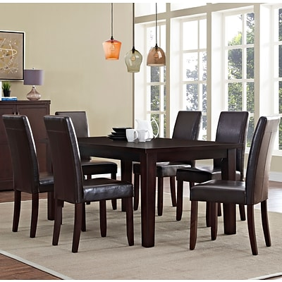 Simpli Home Acadian 7 Piece Dining Set in Tanners Brown Faux Leather (AXCDS7-ACA-BR)