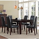 Simpli Home Acadian 7 Piece Dining Set in Midnight Black Faux Leather (AXCDS7-ACA-BL)