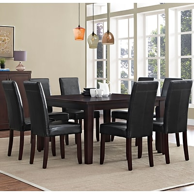 Simpli Home Acadian 9 Piece Dining Set in Midnight Black Faux Leather (AXCDS9-ACA-BL)