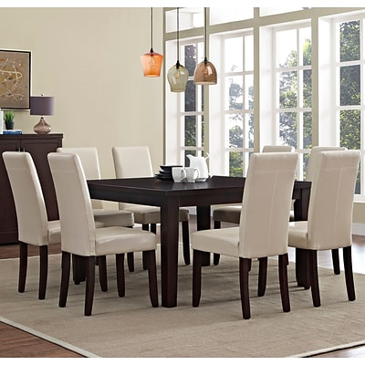 Simpli Home Acadian 9 Piece Dining Set in Satin Cream Faux Leather (AXCDS9-ACA-CR)