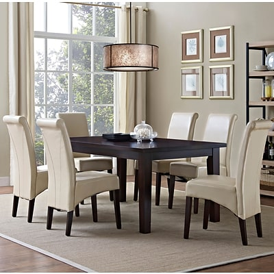 Simpli Home Avalon 7 Piece Dining Set in Satin Cream Faux Leather (AXCDS7-AVL-CR)