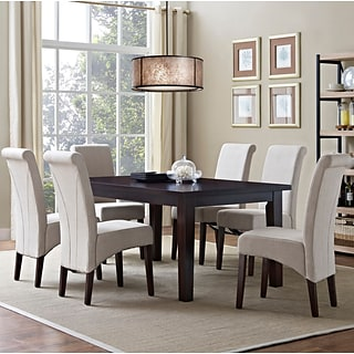 Simpli Home Avalon 7 Piece Dining Set in Natural Linen Look Fabric (AXCDS7-AVL-NL)